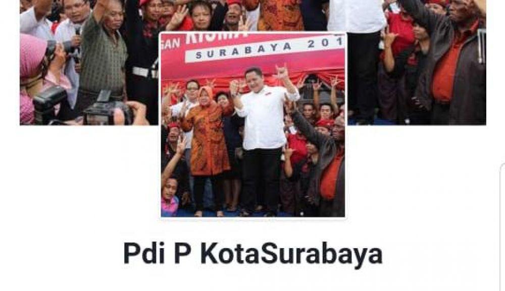 Foto Risma-Whisnu saat kampanye Pilwali 2015 dicatut akun FB @Pdi P Kota Surabaya