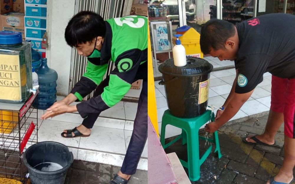 Alfamart Manukan Tama dan Bolodewo, Surabaya sudah disediakan wastafel portable dan sabu