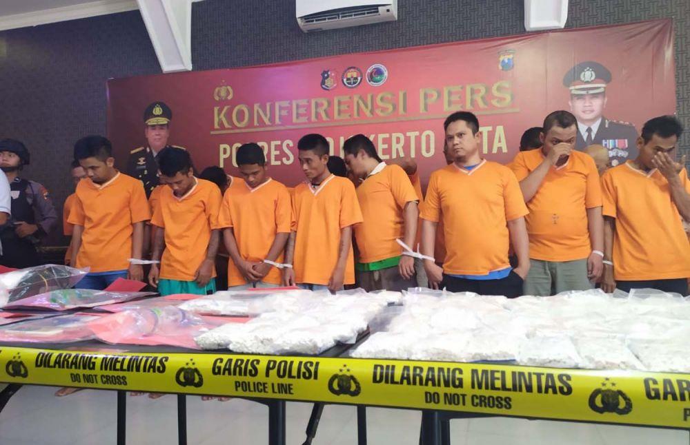 Para tersangka yang ditangkap Polres Mojokerto Kota sepanjang 2019