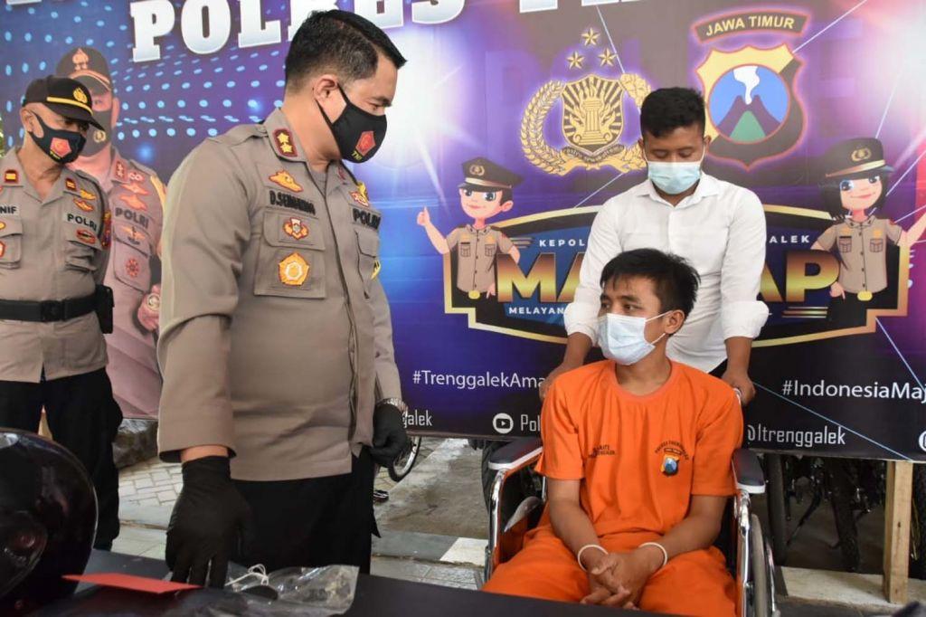 Satu dari empat bandit kelompok Maluku dilumpuhkan kakinya oleh Satreskrim Polres Trenggalek