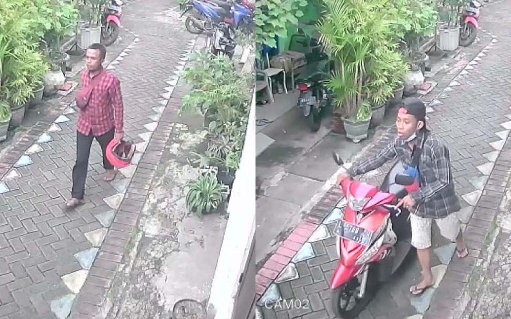 Dua bandit motor yang ditembak kakinya terekam CCTV saat beraksi