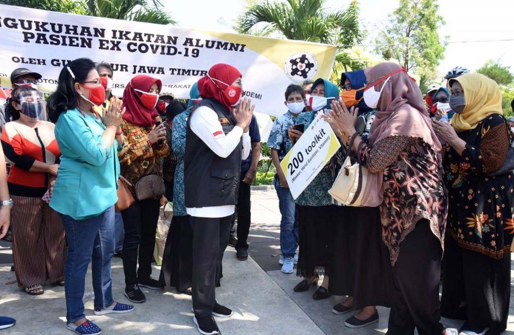 Gubernur Khofifah dan para penyintas Covid-19 di Jatim
