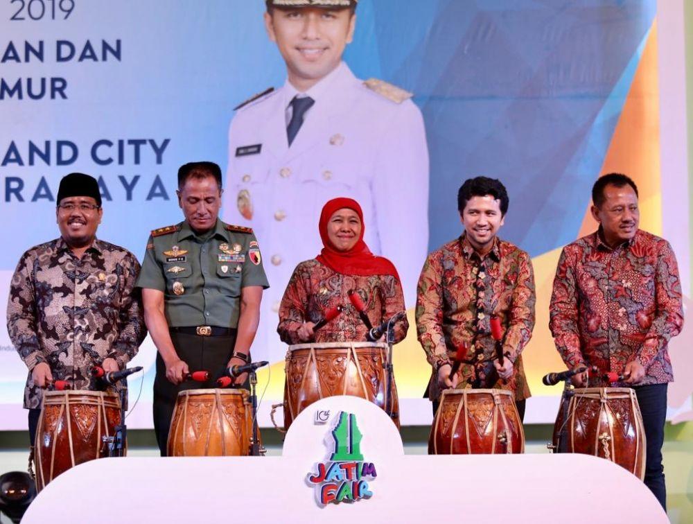 Gubernur Khofifah, Wagub Emil Dardak, Pandam V Brawijaya membuka Jatim Fair 2019 di Grand City Mall Surabaya
