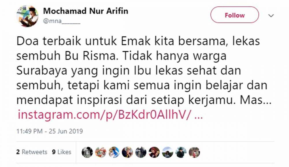 Akun Twitter Bupati Trenggalek Muchamad Nur Arifin atau Cak Ipin