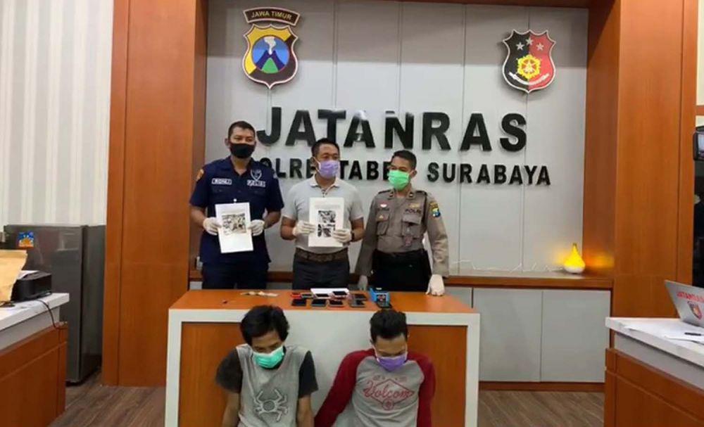 Tangkapan layar video jumpa pers daring ungkap kasus curas Unit Jatanras Satreskrim Polrestabes Surabaya