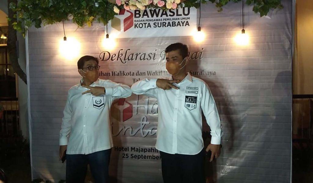 Paslon Nomor Urut 2, Machfud Arifin-Mujiaman saat menghadiri Deklarasi Damai Pilwali Surabaya 2020 yang digelar Bawaslu di Hotel Majapahit
