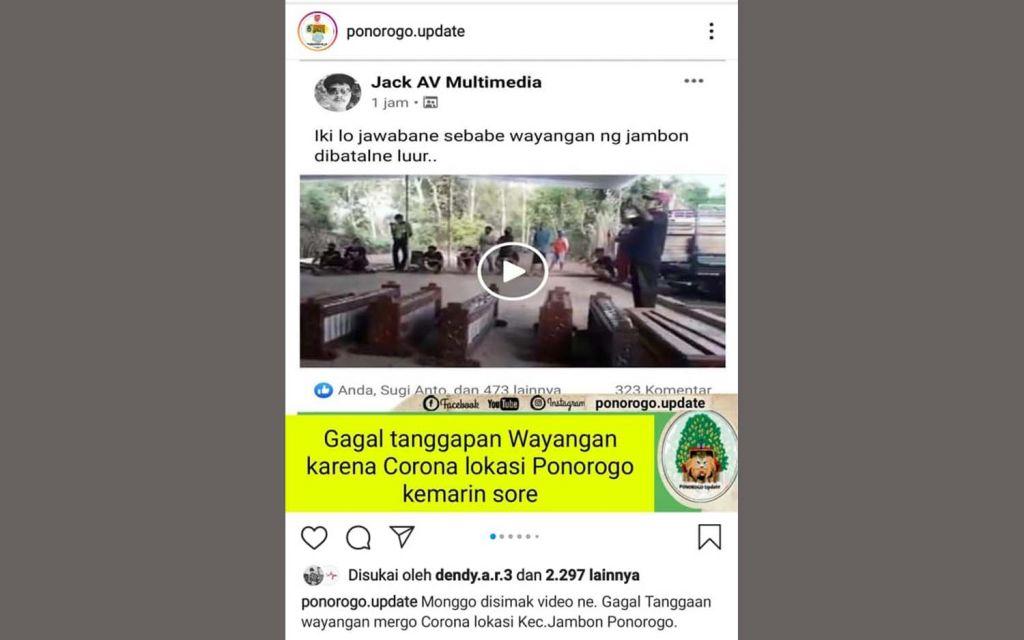 Video penangguhan wayangan di Ponorogo tersebar di media sosial