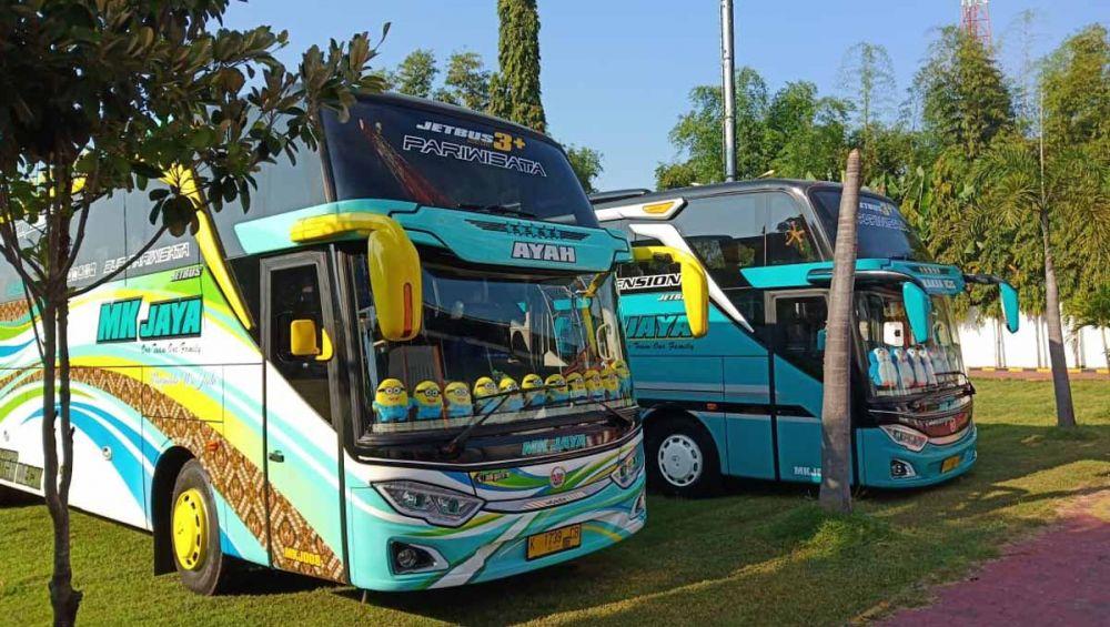 Dua bus yang membawa rombongan diduga massa people power diamankan Polres Madiun