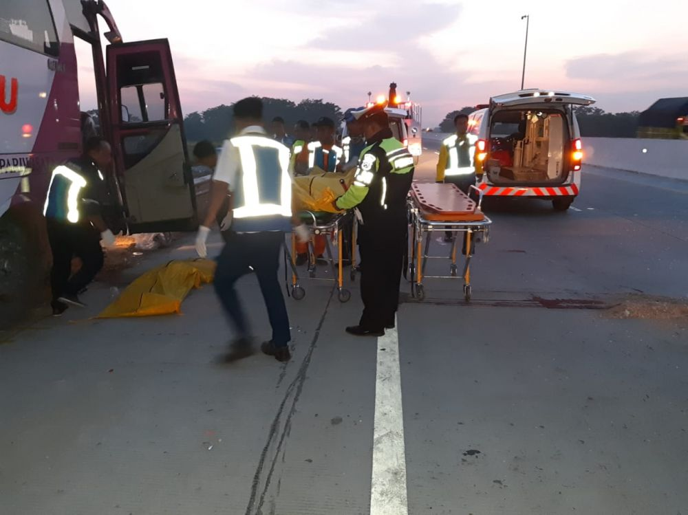 Petugas mengevakuasi jenazah korban kecelakaan bus dan truk di Tol Gempol