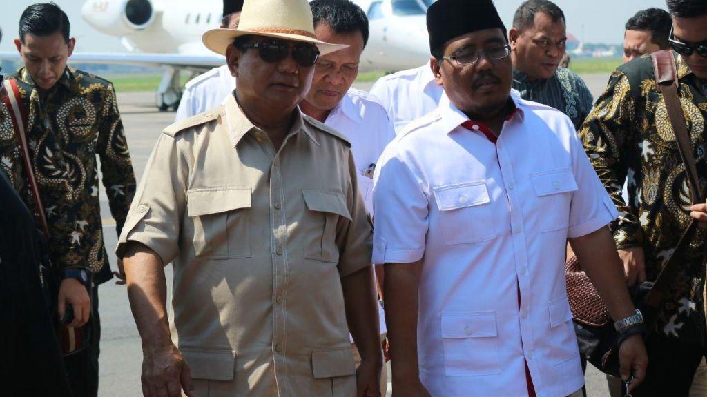 Prabowo Subianto bersama Ketua Partai Gerindra Jatim Anwar Sadad