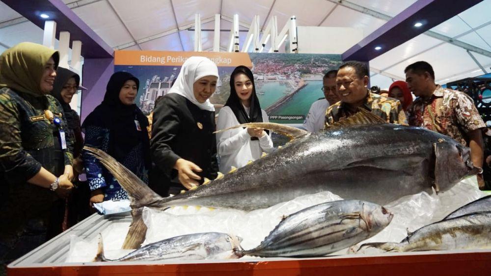 Gubernur Khofifah dan Arumi Bachsin melihat ikan yang dipamerkan dalam Jatim Fish and Marine Exhibition 2019 di parkir timur Plaza Surabaya