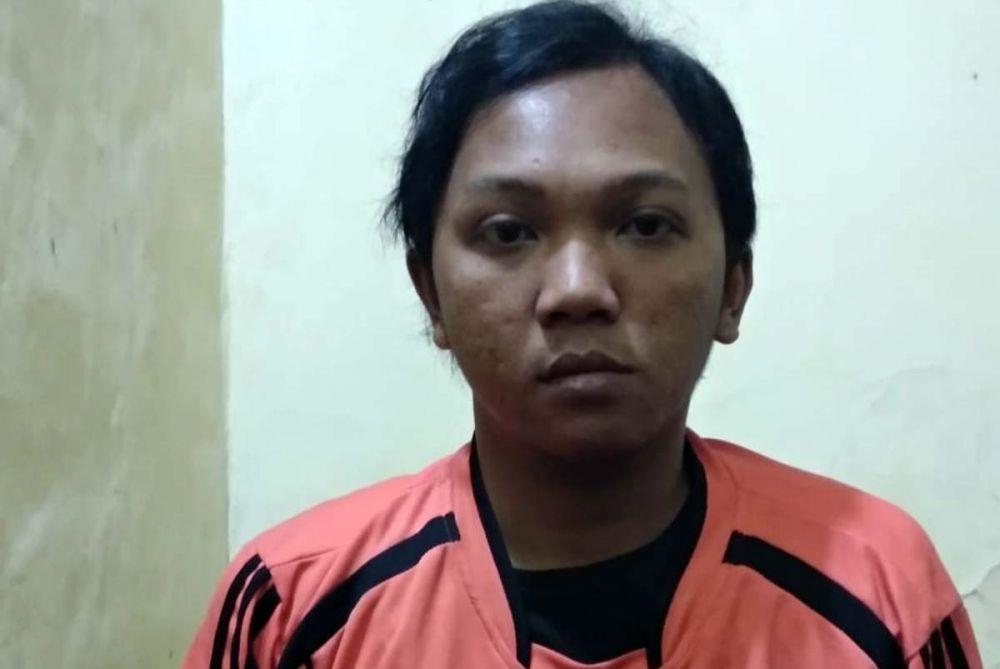 Akhmad Khoiron, jambret HP asal Sidoarjo ditangkap dan diamankan di Mapolsek Prigen, Pasuruan