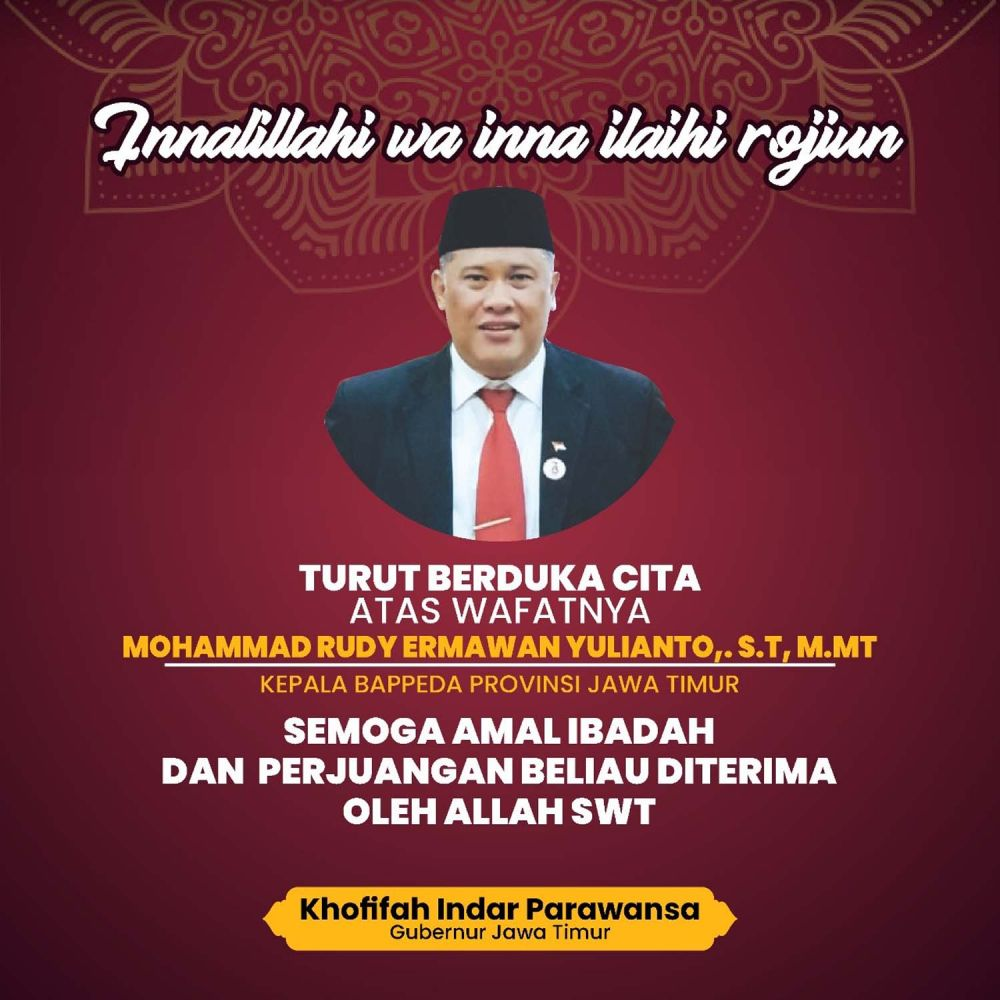 Kepala Bappeda Jatim Rudy Ermawan Yulianto meninggal dunia