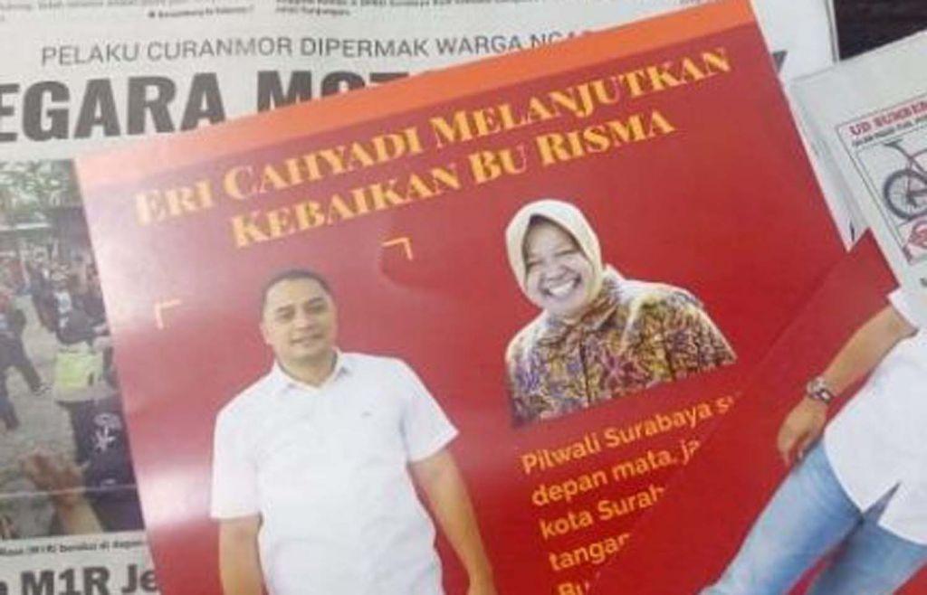 Salah satu contoh leaflet Eri Cahyadi yang memasang foto dan nama Risma