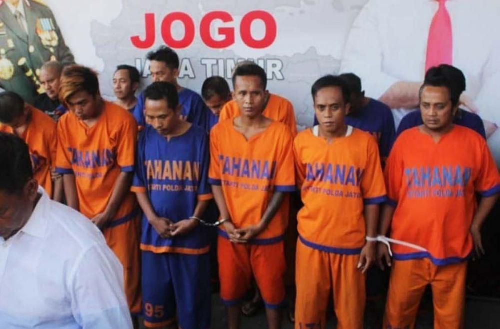 Para penjahat yang ditangkap Subdit Jatanras Ditreskrimum Polda Jatim sepanjang Operasi Sikat Semeru 2019