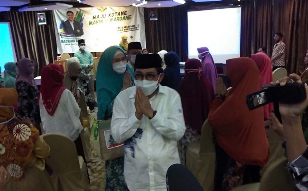 Cawali Machfud Arifin saat bersilaturahmi dengan Muslimat NU se Surabaya