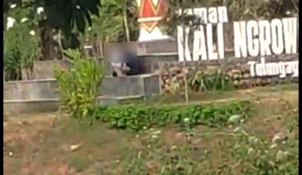 Pasangan diduga kekasih yang terekam video sedang mesum di Taman Ngrowo, Tulungagung