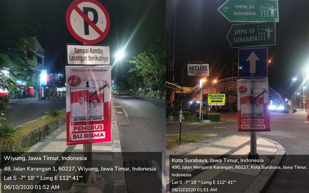 LIRA juga melaporkan dugaan pelanggaran pemasangan APK Eri-Armudji ke Bawaslu Surabaya