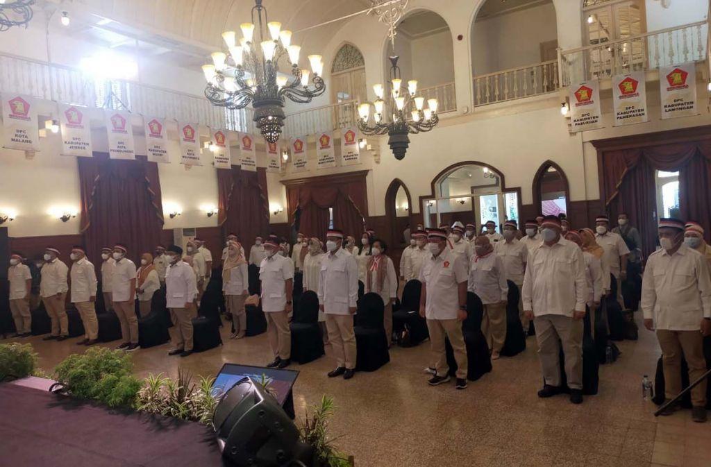 Pengukuhan Pengurus Partai Gerindra Jatim di Hotel Majapahit, Surabaya, Minggu (27/6/2021)