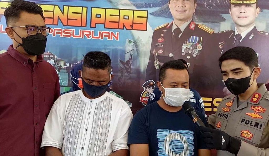 Penampakan dua tersangka perdagangan Perdagangan telur infertil di Pasuruan