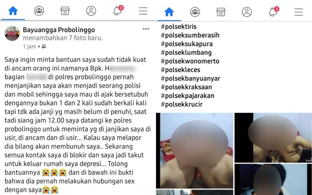 Tangkapan layar postingan akun Facebook Banyuangga Probolinggo