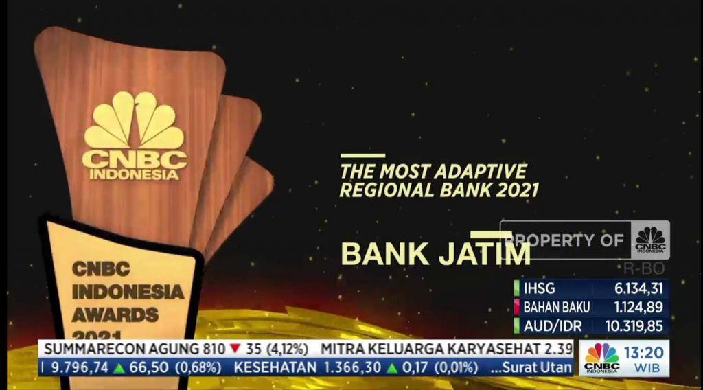 PT Bank Pembangunan Daerah Jawa Timur Tbk. (bankjatim) torehkan prestasi dalam ajang CNBC Awards 2021