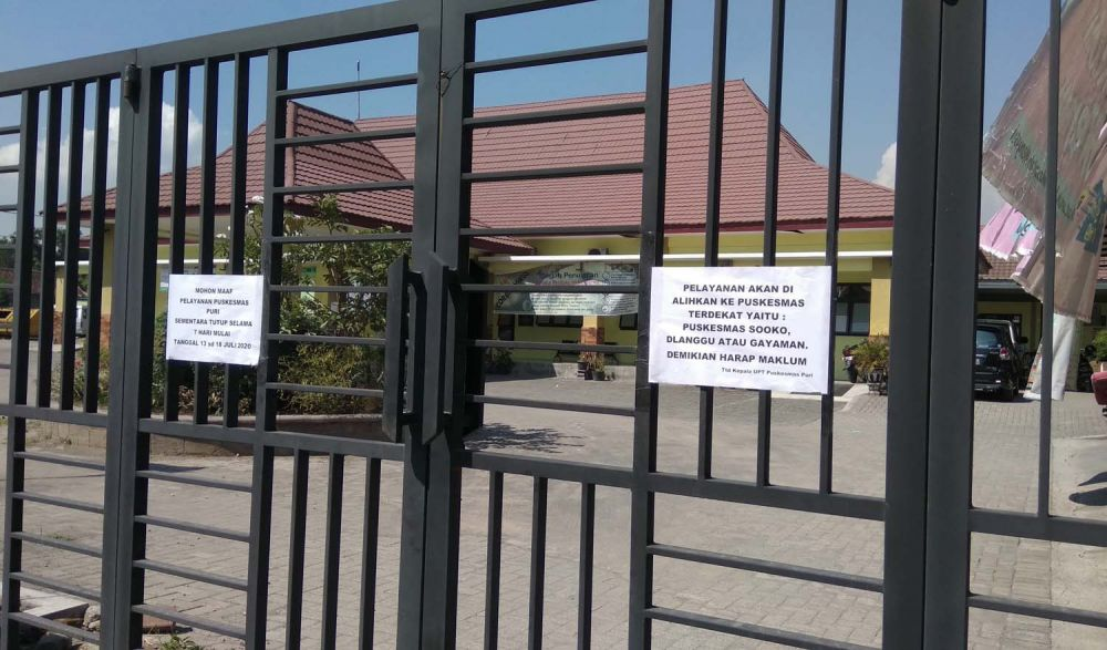 Puskesmas Puri Kabupaten Mojokerto ditutup sementara