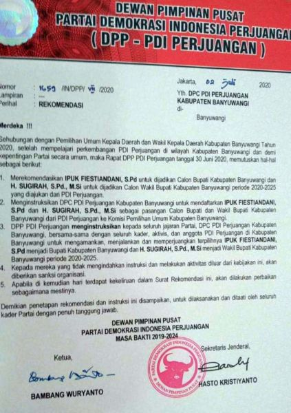 Surat rekomendasi dari DPP PDIP untuk istri Bupati Anas