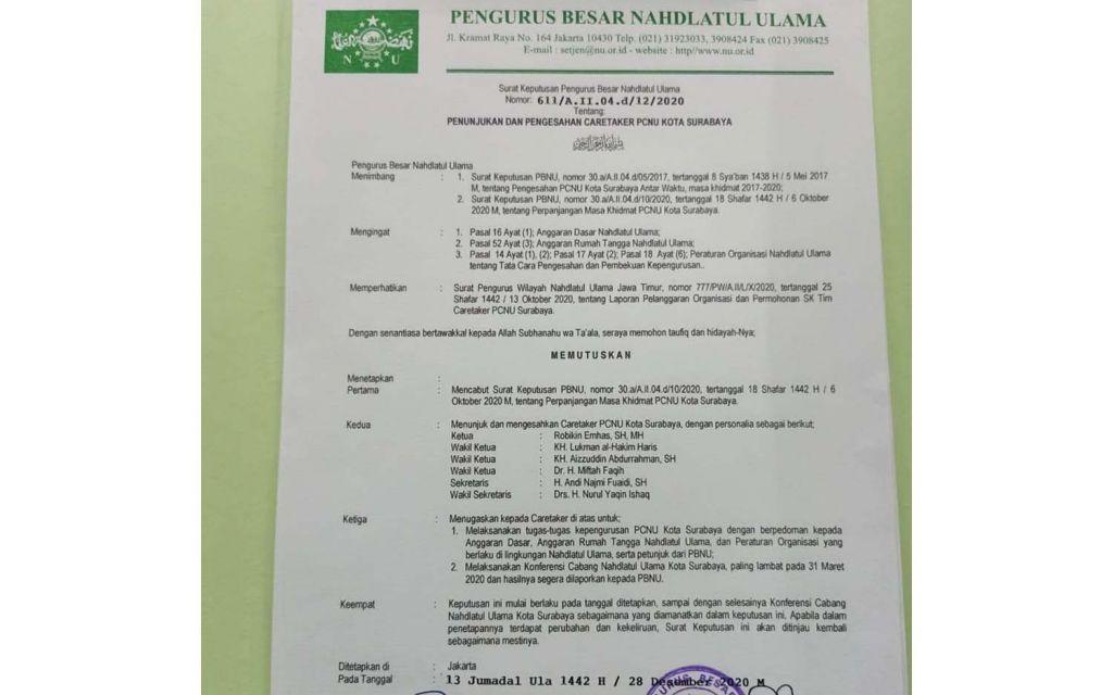 SK Penunjukan dan Pengesahan Karteker Pengurus PCNU Kota Surabaya