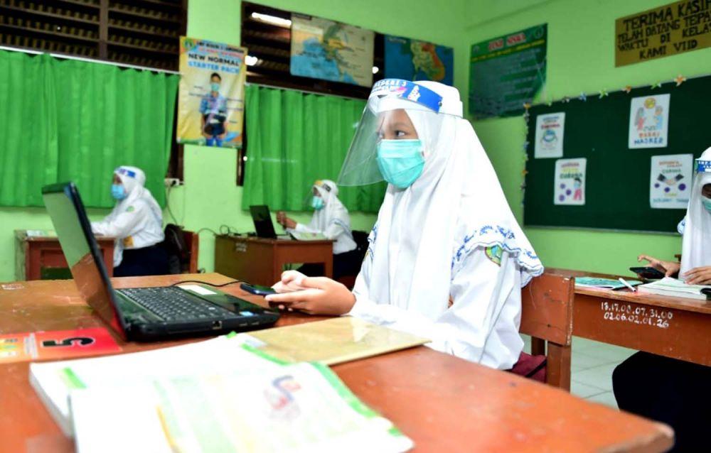 Simulasi belajar mengajar tatap muka di Sekolah Tangguh Semeru, SMP Negeri 3 Lamongan