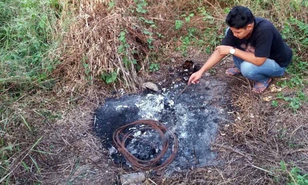 Lokasi penemuan tengkorak gosong di Mojokerto