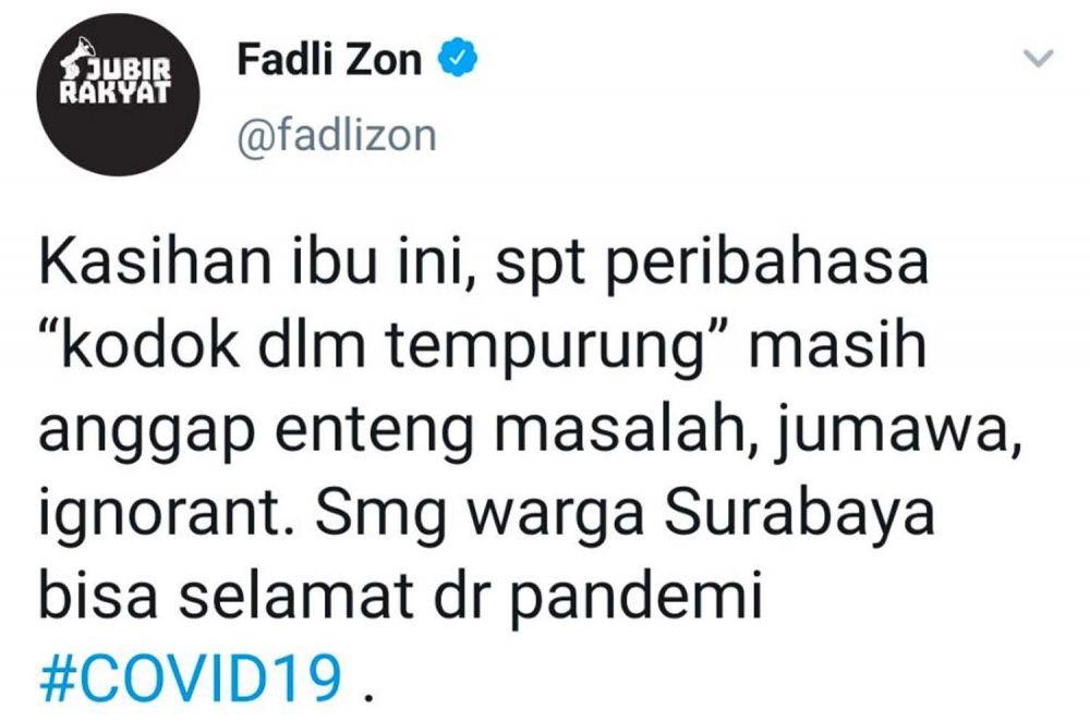 Postingan Fadli Zon melalui akun twitternya soal candaan Wali Kota Surabaya Tri Rismaharini