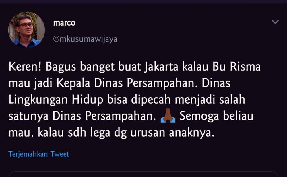Tweet Marco yang dianggap menyerang pribadi Wali Kota Risma