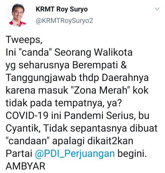 Postingan Roy Suryo melalui akun twitternya soal candaan Wali Kota Surabaya Tri Rismaharini