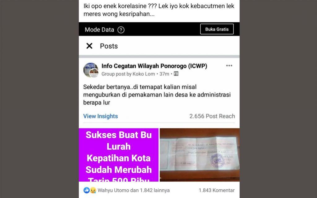 Tangkapan layar postingan Facebook yang menyebut biaya pemakaman di Bibis, Ponorogo sebesar Rp 5 juta