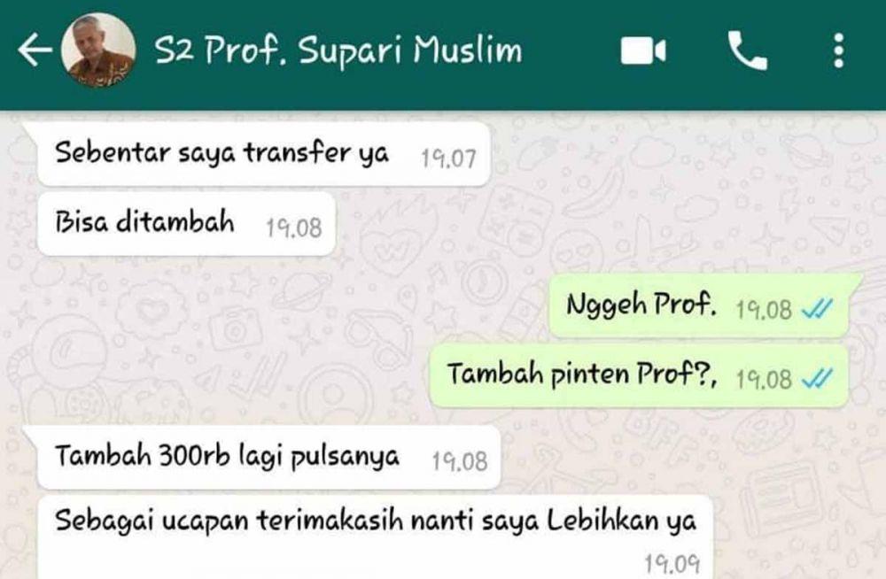 WhatsApp Guru Besar Unesa dibobol (foto: Istimewa)