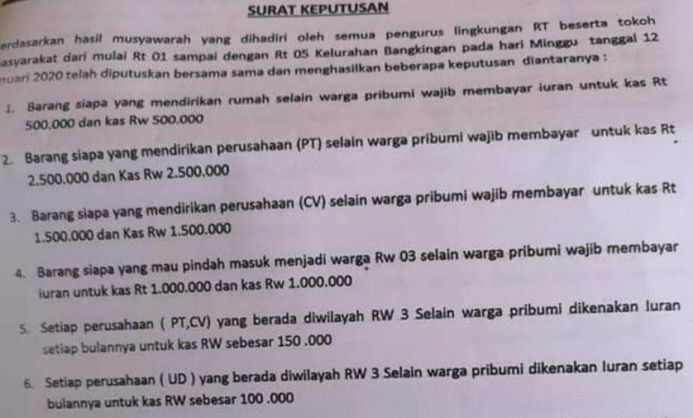 Peraturan warga RW 03 Kelurahan Bangkingan Surabaya yang beredar
