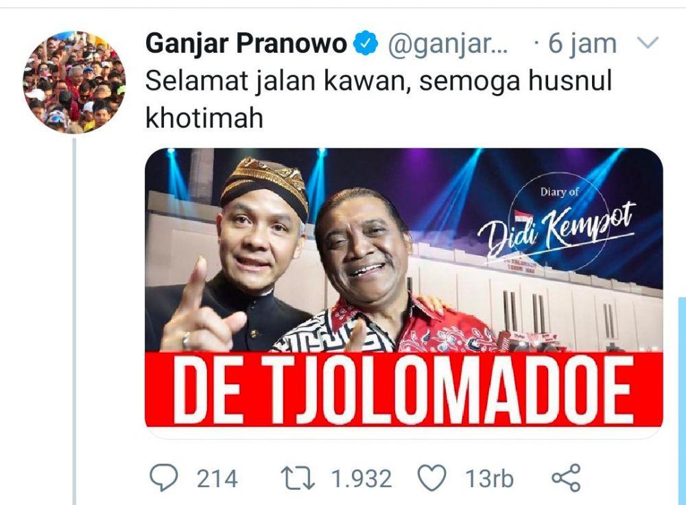 Ucapan selamat jalan Didi Kempot yang diposting Gubernur Jateng Ganjar Pranowo melalui akun Twitter-nya