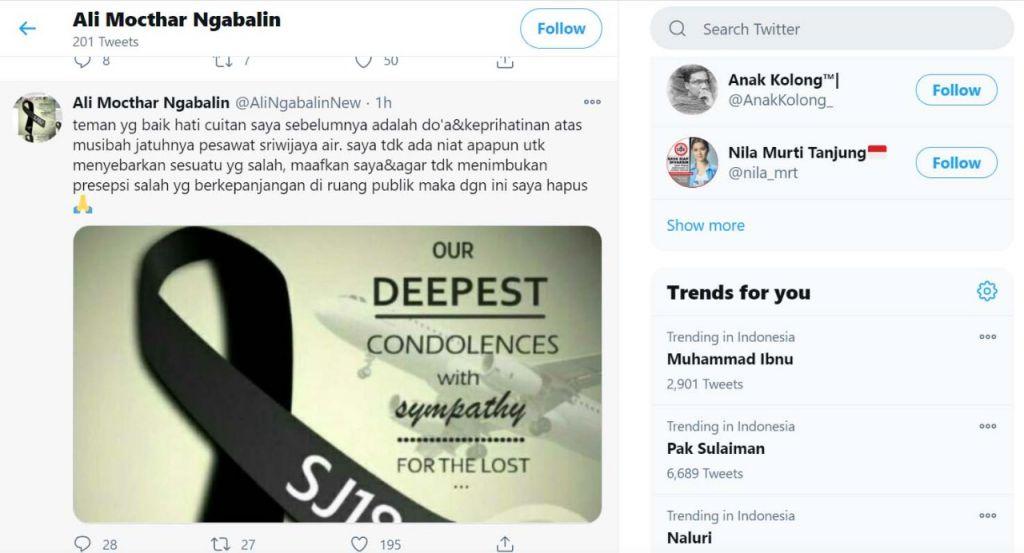 Postingan Ali Mochtar Ngabalin yang baru di Twitter