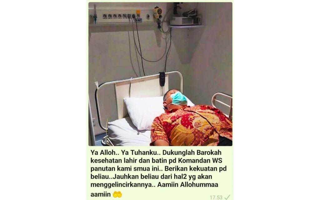 Foto Whisnu Sakti Buana dirawat di rumah sakit yang beredar