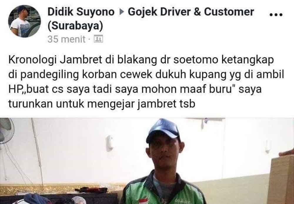 Status facebook Didik usai tangkap 2 jambret