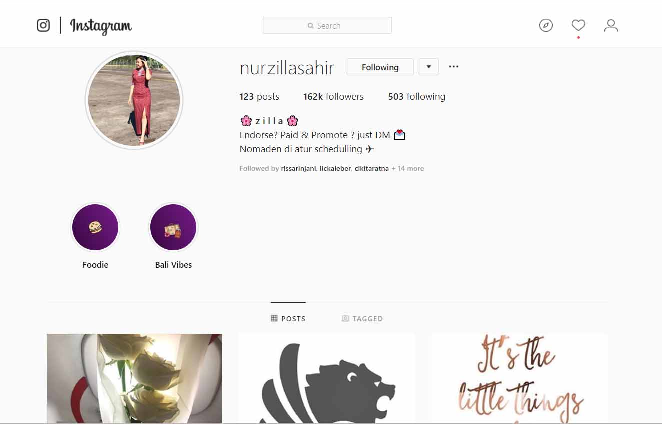 Instagram @nurzillasahir