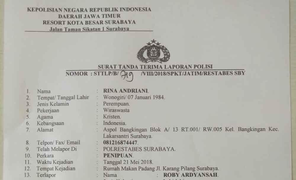 Tipu Istri Sesama Anggota Oknum Polisi Dilaporkan
