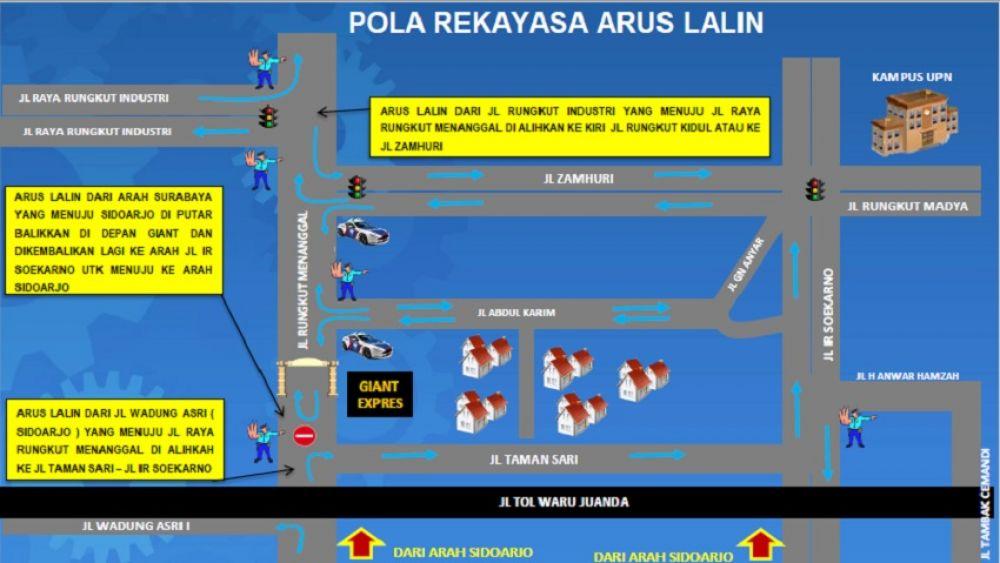 Rekayasa lalu lintas kendaraan atas penutupan sementara Jalan Rungkut Menanggal Surabaya