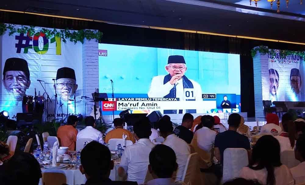 Suasana nonton bareng debat cawapres di Surabaya